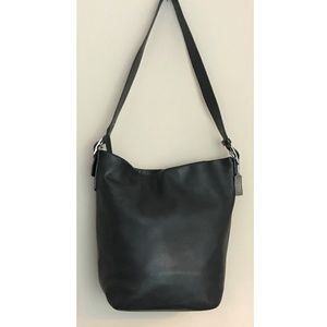 Coach XL Black Leather Bucket Duffle Bag 9151